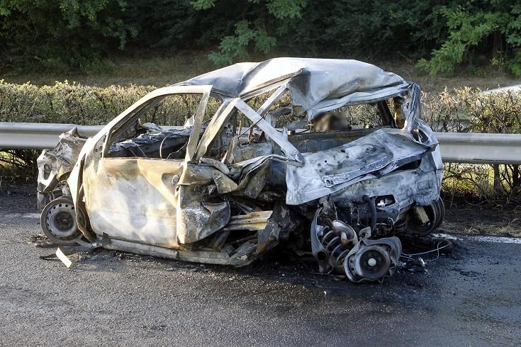 Ennyi maradt a Rezesová BMW-je által felnyársalt Fiatból, aminek vezetője Melegh szerint részben vétkes lehetett