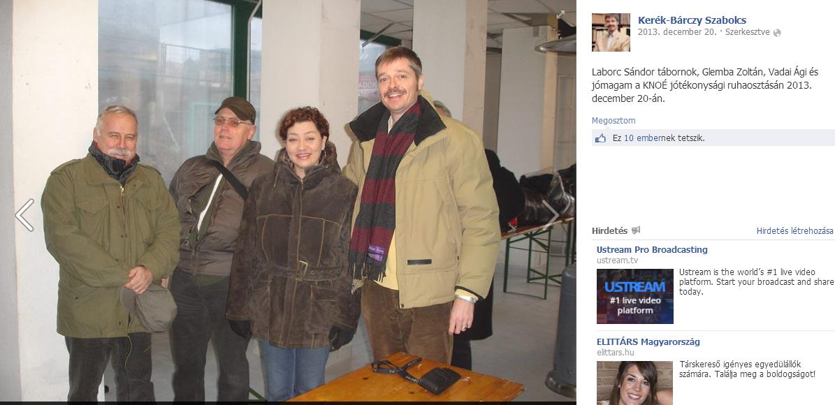 A tavaly decemberi fotó Kerék-Bárczy nyilvános Facebook-oldaláról