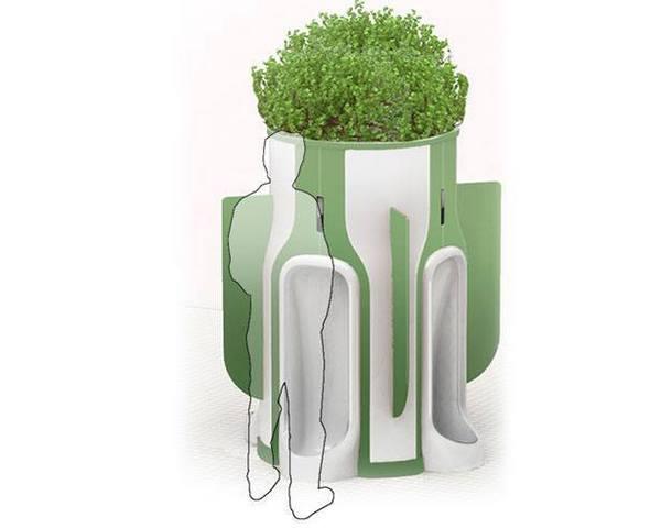 A szűrőrendszerrel ellátott vizelde, amelynek segítségével kvázi mi táplálhatjuk városunk bokrait és fáit.