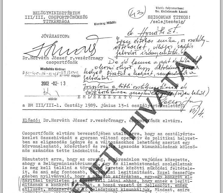 Horváth József, a III/III utolsó parancsnokának eligazítása '89 júniusában