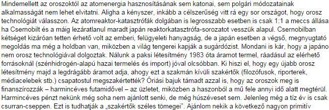 A moszkvai atom, Boros 2014-es cikke / Forrás: Magyarhirlap.hu