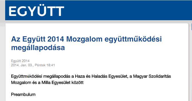 """Az Együtt 2014 honlapján ma is olvasható megállapodás a """"Milla Egyesülettel"""""""