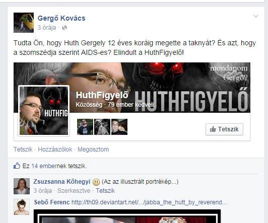 """Kovács Gergő büszkélkedik a """"HuthFigyelővel"""""""