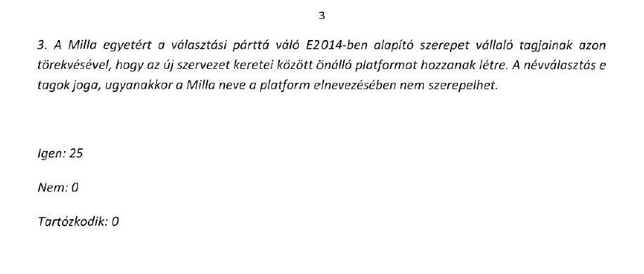 Részlet a Milla Egyesület 2013. március 6-i közgyűlésének jegyzőkönyvéből