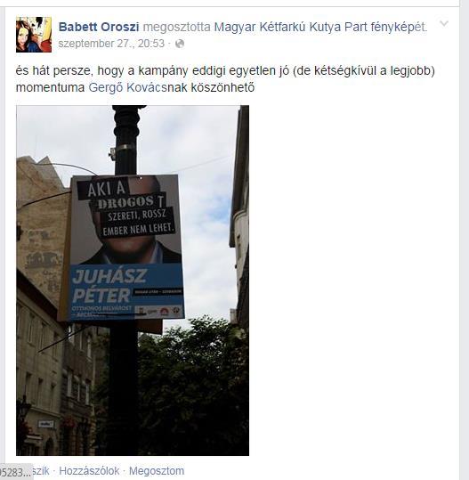 És végül: itt a fullpártatlan Oroszi Babett köszöni meg Kovács Gergőnek, hogy kicsinosította Juhász Péter összefirkált plakátját.