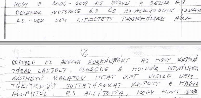 Dömény Zoltán vallomással felérő levelének egy részlete. Fotó: PestiSrácok.hu