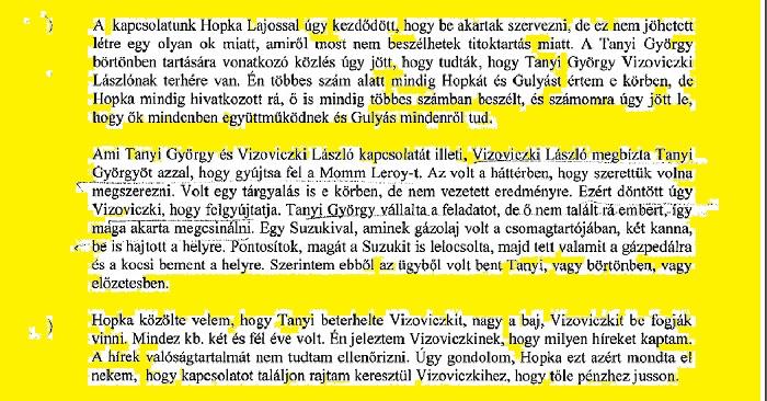 Varga István gyanúsítotti vallomása
