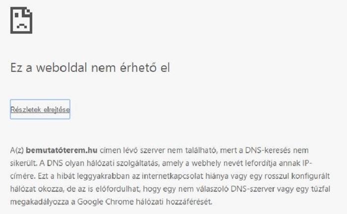 Ez az üzenet jön szembe, ha a Bemutatóterem weboldalára kattintunk.