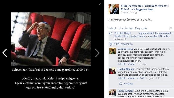 Szaniszló hétvégi Facebook-bejegyzése. A műsorvezető érdekesnek találta, hogy elhallgatták Schweitzer mondatait.... Fotó: Facebook.com