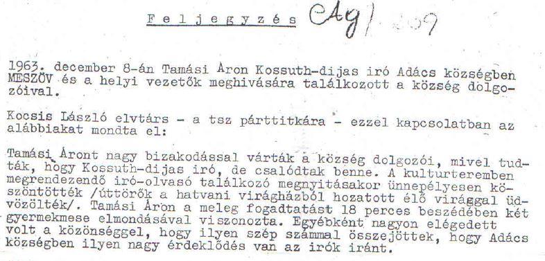 Tamási Adácson /Forrás: Magyar Országos Levéltár