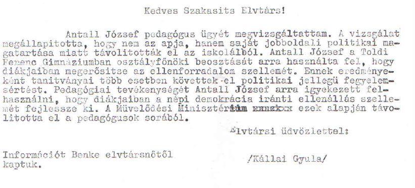 Kállai válasza /Forrás: Mol.hu, Hamvas