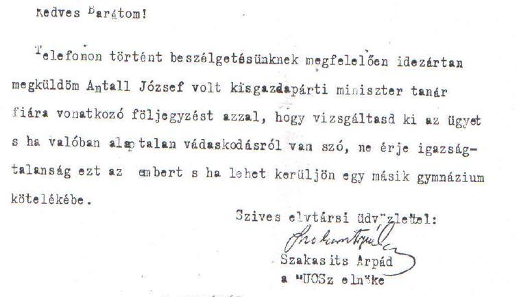 Szakasits levele /Forrás: Mol.hu, Hamvas