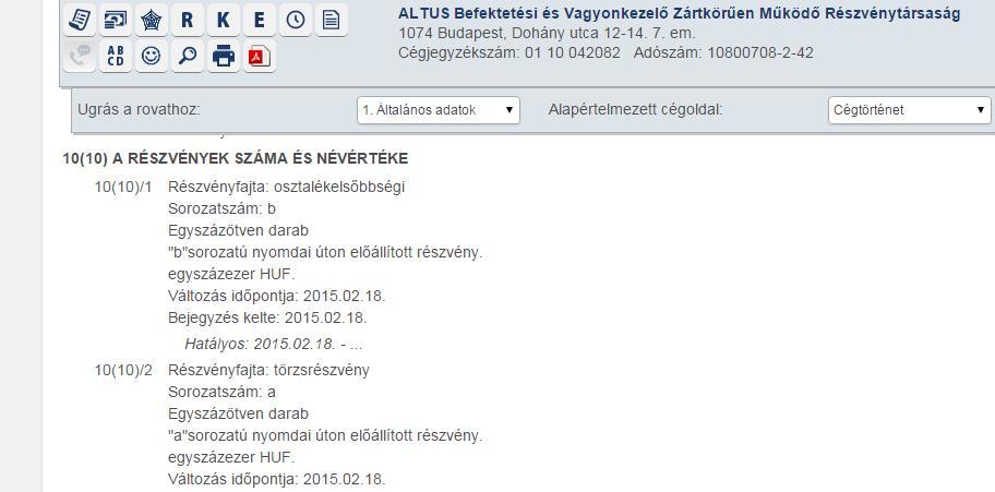 Az Altus rejtélyes módon  megfelezett részvénycsomagja az OPTEN cégadatbázisában.