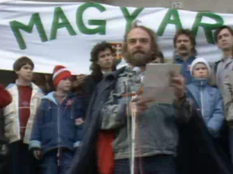 Csengey Dénes beszéde 1989. március 15-én / Fotó: Fortepan.hu