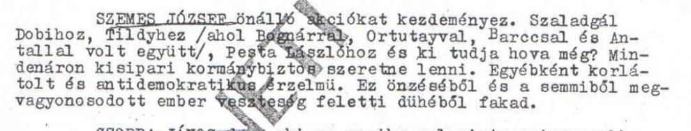 """Buday (Pártay Tivadar) """"szimpatikus"""" jellentése Szemes Józsefről / Az ABTL iratának másolata a Hamvas Intézet archívumából"""