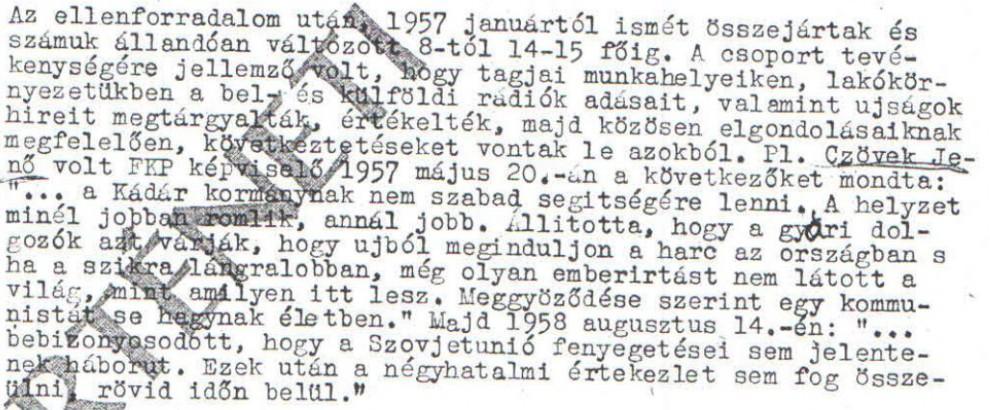 Egy kommunistás se hagynak életben / Az ABTL iratának másolata a Hamvas Intézet archívumából