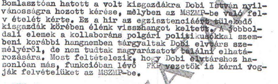 Dobi lépésének élénk visszhangja / Az ABTL iratának másolata a Hamvas Intézet archívumából