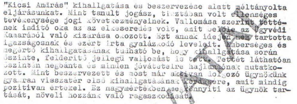 """""""Kicsi András"""" beszervezése / Az ABTL iratának másolata a Hamvas Intézet archívumából"""