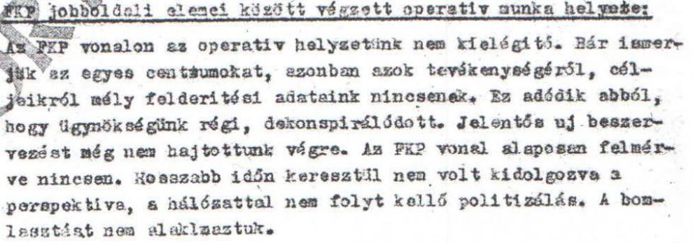 Operatív helyzetünk nem kielégítő / Az ABTL iratának másolata a Hamvas Intézet archívumából