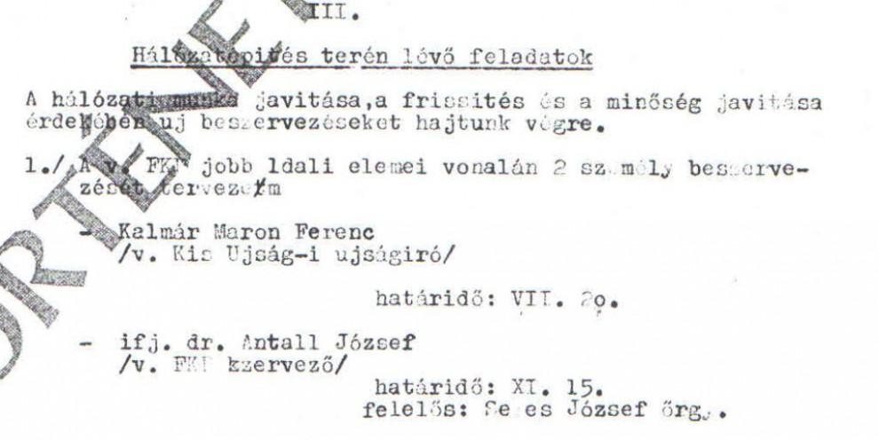 Antall József a célkeresztben / Az ABTL iratának másolata a Hamvas Intézet archívumából