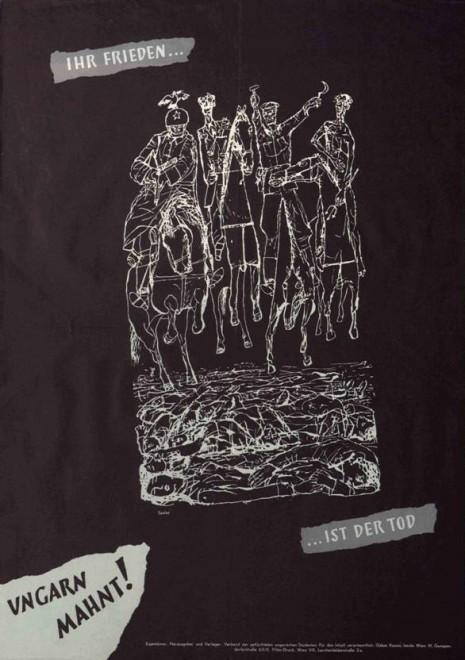 A Bécsben kiragasztott ellenplakát, a kádári apokalipszis lovasai / Fotó: Betekinto.hu