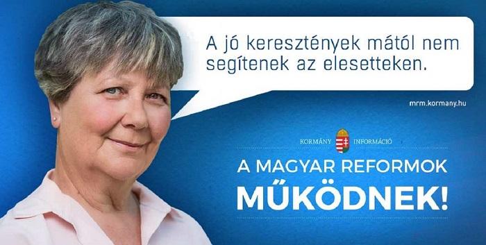 Kézdiné Patakfalvy Katalin és az egyik ellenplakát. Forrás: 444.hu