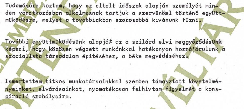 """""""Orengo"""" beszervezése (2.) / Forrás: ÁBTL"""