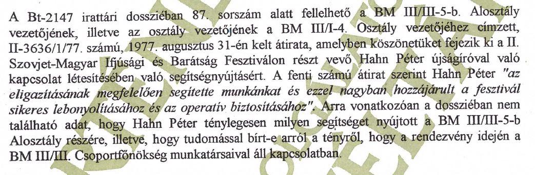 Az átvilágítás bizonyítéka - érdemes figyelni a mentegetésre: nem biztos, hogy tudta, hogy éppen a III/III-nak segít... / Forrás: ÁBTL