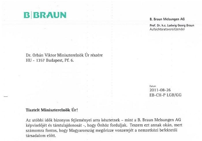 A Hubertus Bt. képviselője az ügyben még Orbán Viktor magyar miniszterelnöknek is írt levelet. Forrás: PS