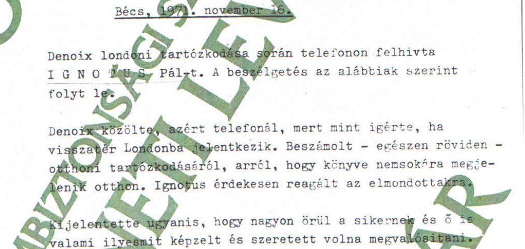 Ignotus örült Kutasi Kovács sikerének, az árát nem sejtette / Forrás: ÁBTL