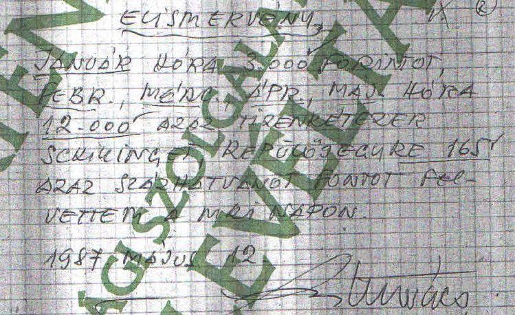 Kutasi Kovácsnak is volt honoráriuma..., egy elismervény a sok közül / Forrás: ÁBTL