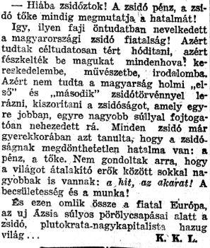 Részlet Kutasi Kovács egyik 1944-es cikkéből