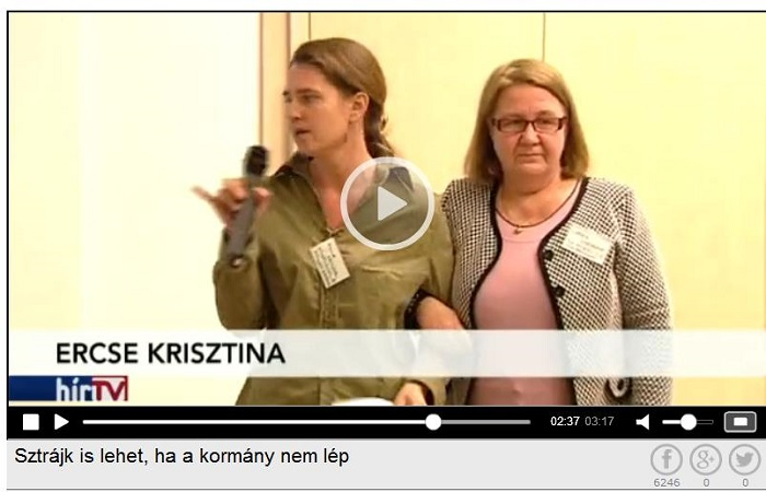 Ercse Krisztina a hétvégi értekezleten. Forrás: Hír TV