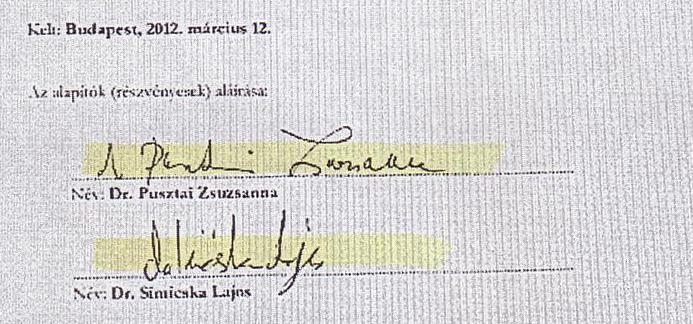 Simicska Lajos és neje aláírása a Hárskúti Mezőgazdasági Zrt. (korábbi nevén