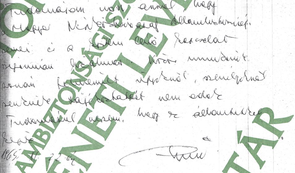 Titkos kapcsolat, aláírással hitelesítve / Forrás: ÁBTL