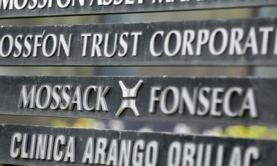 "A marquee of the Arango Orillac Building lists the Mossack Fonseca law firm, in Panama City, Monday, April 4, 2016. Panama's president says his government will cooperate ""vigorously"" with any judicial investigation arising from the leak of a vast trove of information on the offshore financial dealings of the world's rich and famous. An international coalition of media outlets Sunday published investigations it said stemmed from the leak of 115 million records kept by the Panama-based law firm Mossack Fonseca on behalf of clients. (AP Photo/Arnulfo Franco)"