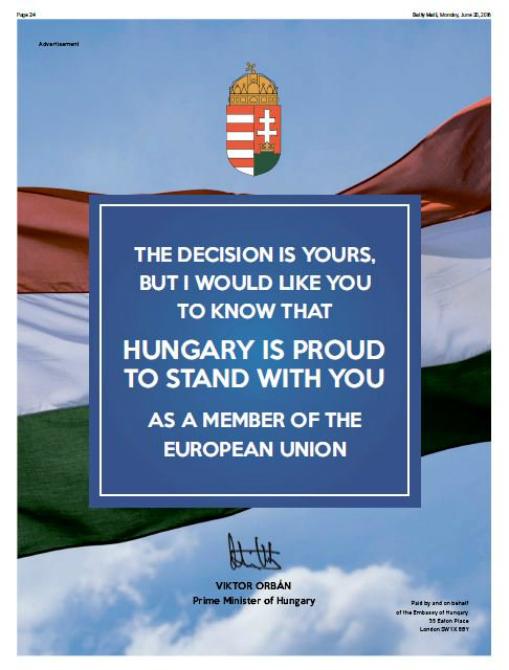 A magyar kormány üzenete a briteknek. Fotó: portfolio.hu
