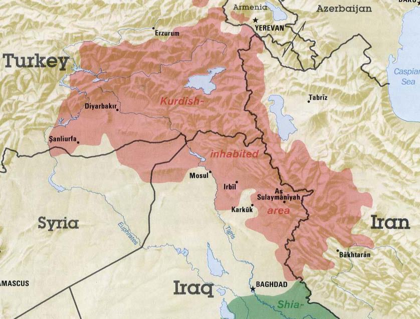 Kurd népességű területek Törökországban, Szíriában, Irakban és Iránban (forrás: arabpress.eu)