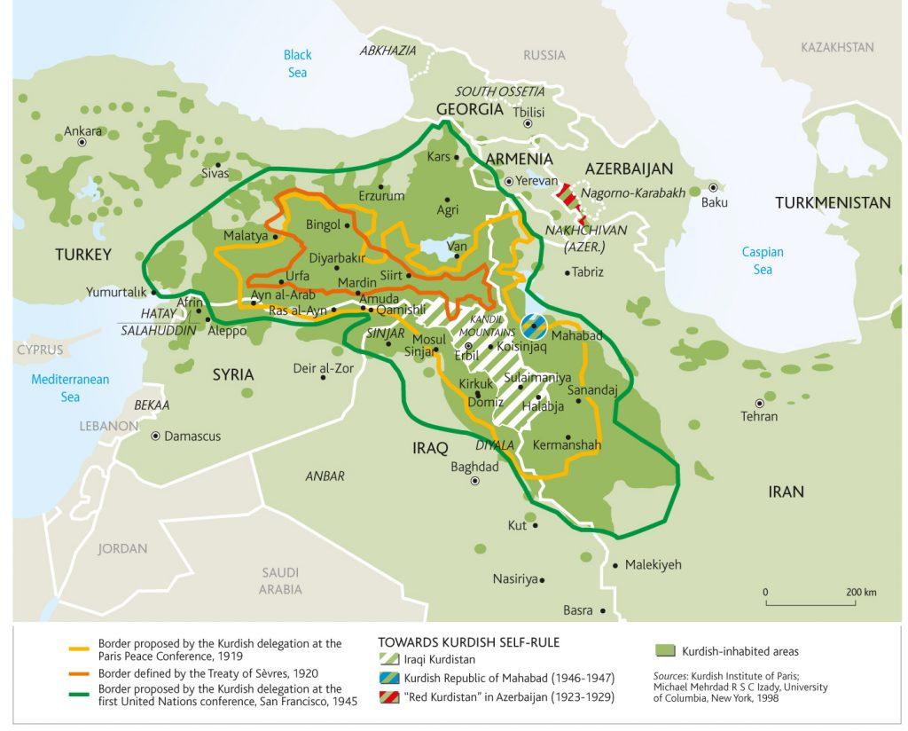 Kurdok által lakott területek, az első világháborút követő határváltozatok és a kurd igények (térkép: mondediplo.com)