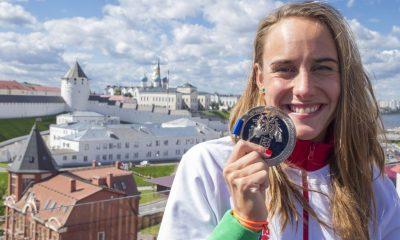 Kazany, 2015. augusztus 2. A nyíltvízi úszók 25 kilométeres versenyén ezüstérmet nyert Olasz Anna a kazanyi vizes világbajnokságon 2015. augusztus 2-án. MTI Fotó: Kovács Anikó