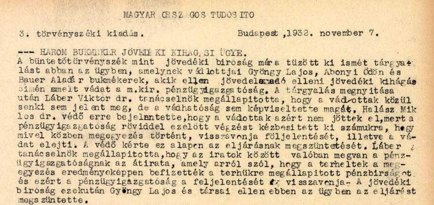 Korabeli cikk Bauer Aladár bírósági ügyéről / Forrás: Library.hungaricana.hu