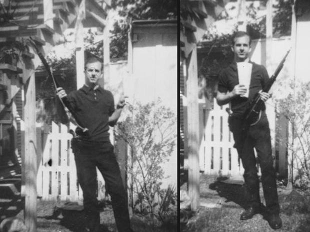 Lee Harvey Oswald puskával pózol a hátsó kertben – állítólagos paranoid vonásai mellett valamiért sose mulasztotta el, ha alkalma volt provokálni. (fotó: cbsnews.com)