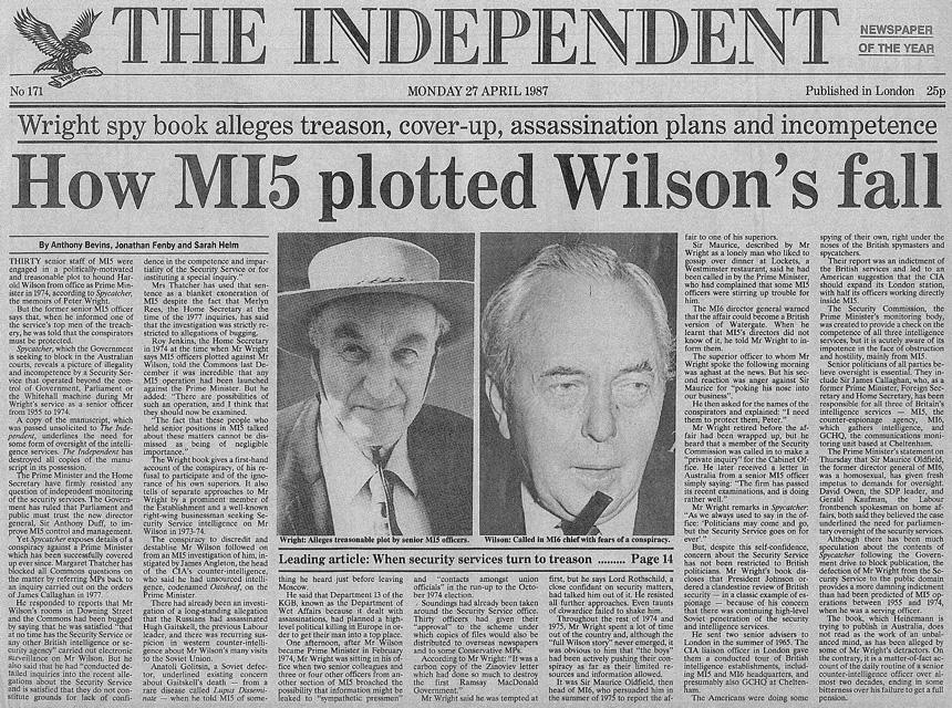 Harold Wilson lebuktatása / Forrás: MI5.co.uk