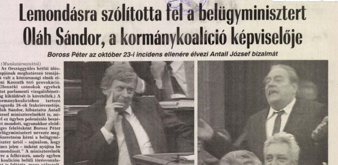 Mondjon le! Az egyik cikk a Népszabadság 27-ei számából / Forrás: Arcanum.hu