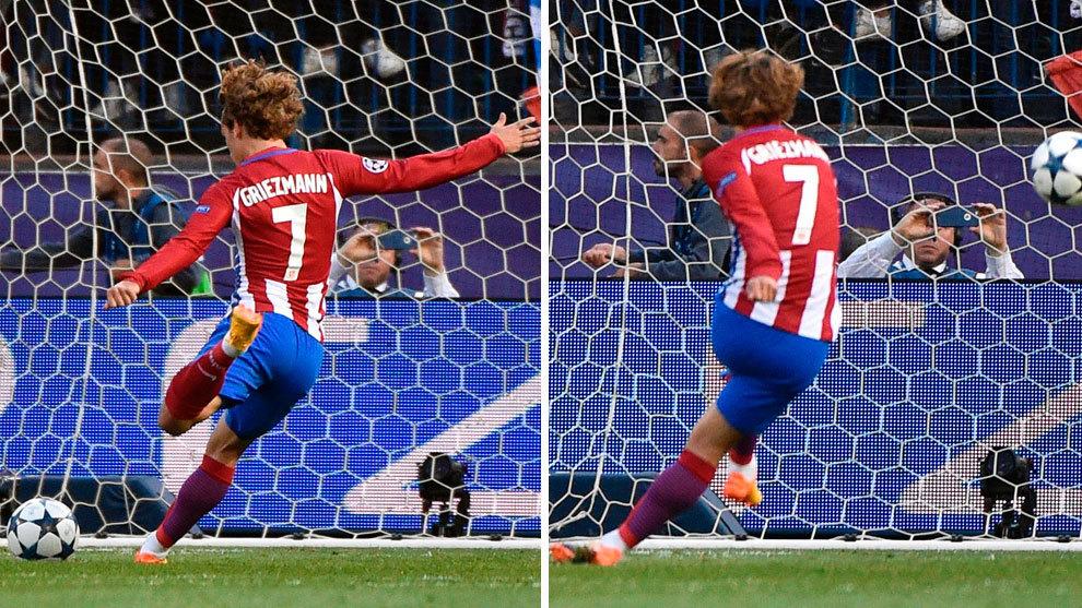 Grizmann büntetője - két pillanatban / Fotó: Marca.es