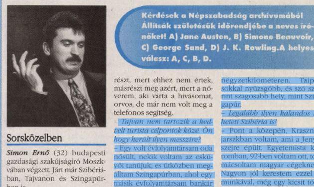 Simon Ernő Vágónál / Forrás: Arcanum.hu