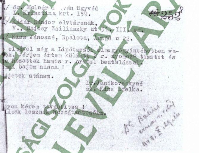 Az eredeti levél leirata / Forrás: ÁBTL