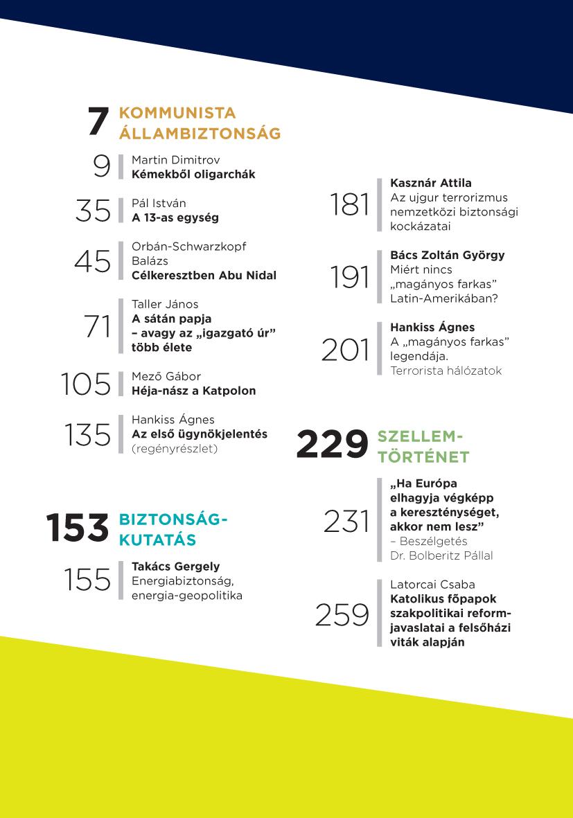 Arc és Álarc, tartalomjegyzék / Forrás: Hamvasintezet.hu