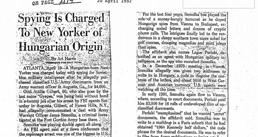 Amerikai cikk Gilbert letartóztatásáról a CIA archívumából / Forrás: CIA.gov.com