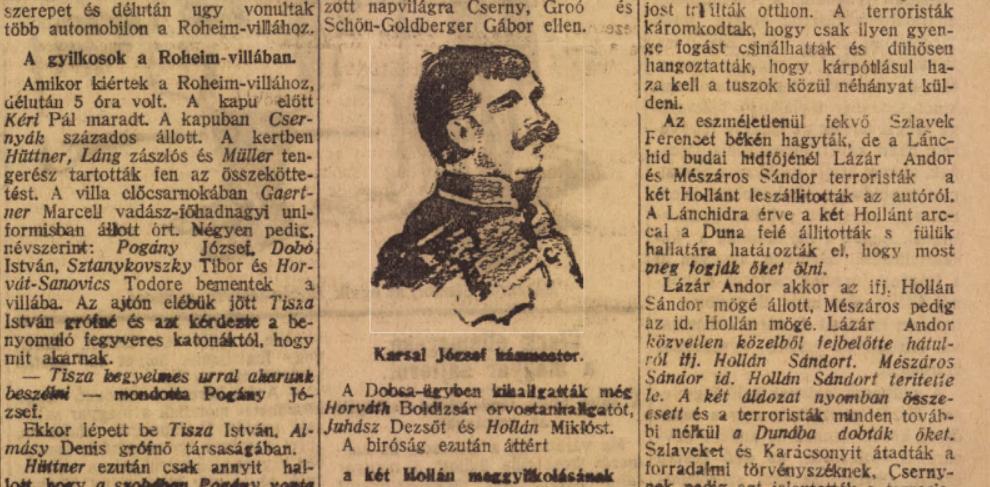 Karsai József házmester a korabeli sajtóban / Forrás: Arcanum.hu
